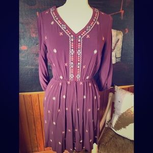 Purple Rayon Embroidered Dress